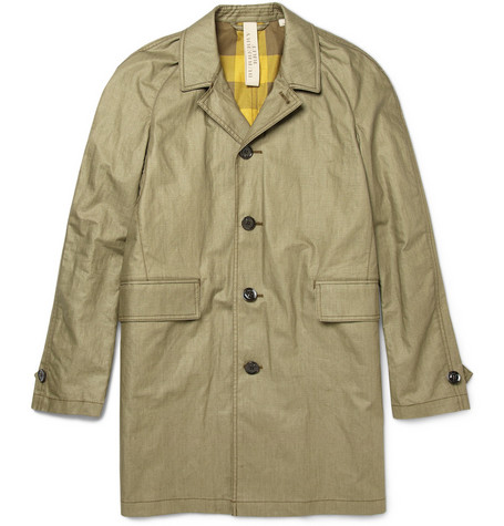 Burberry Brit Waxed Cotton and Linen-Blend Trench Coat
