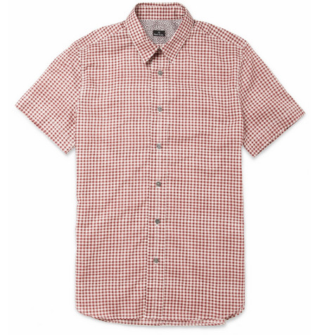 PS by Paul Smith Short-Sleeved Gingham-Print Cotton Shirt