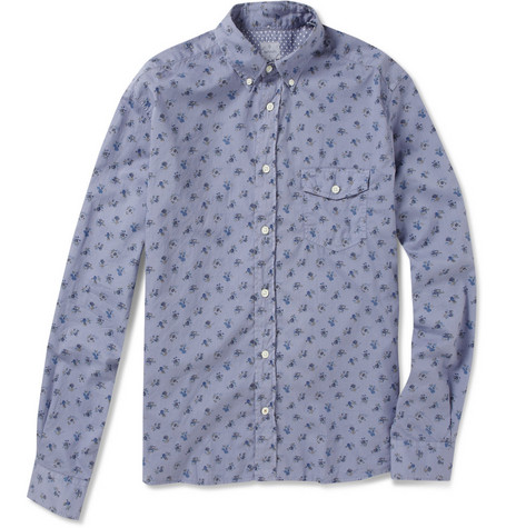 Hartford Overdyed Flower-Print Shirt