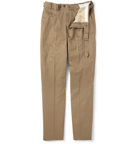 Yves Saint Laurent Belted Cotton-Gabardine Trousers
