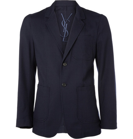 Yves Saint Laurent Unstructured Textured-Wool Blazer