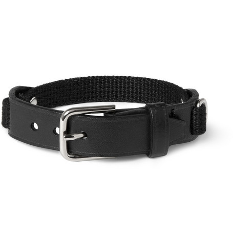 Yves Saint Laurent Leather and Canvas Buckled Bracelet