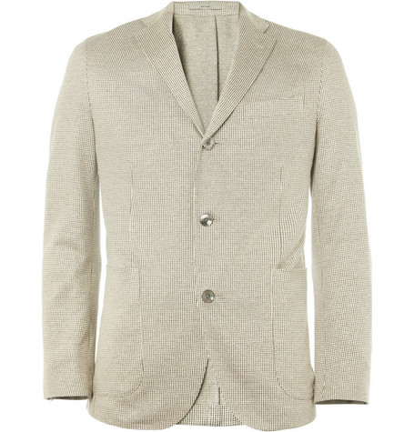 Boglioli Slim-Fit Houndstooth Silk-Blend Blazer