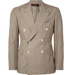 Loro Piana Brown Unstructured Double-Breasted Cotton Blazer