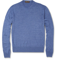 Loro Piana Fine-Knit Silk Crew Neck Sweater