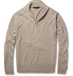 Loro Piana Zipped Knitted Silk Sweater
