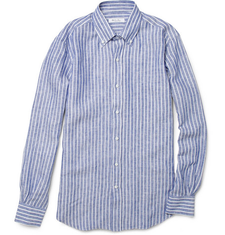 Loro Piana Alfred Button-Down Collar Linen Shirt