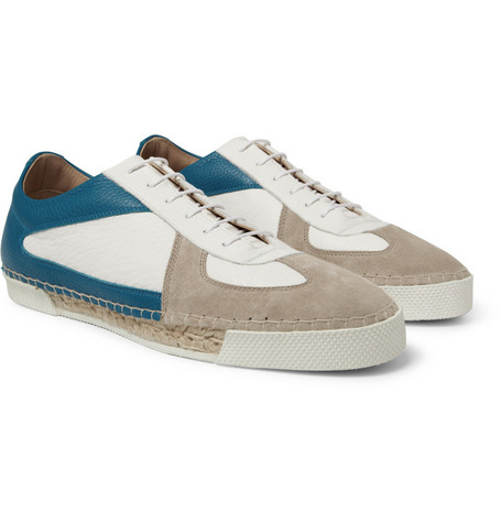 Jil Sander Panelled-Leather and Espadrille Sneakers