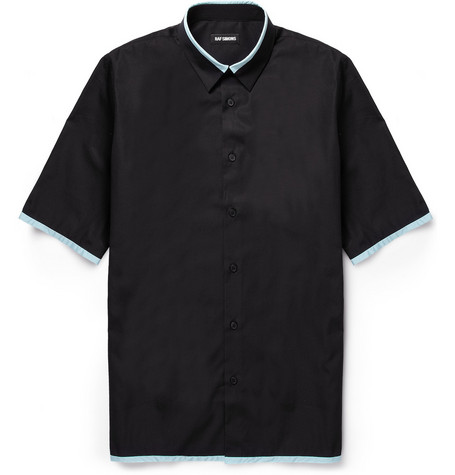 Raf Simons Contrast-Collar Short-Sleeved Cotton Shirt