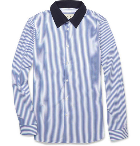 Marni Contrast-Collar Striped Cotton Shirt