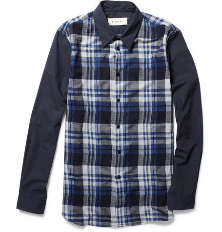 Marni Contrast-Sleeve Plaid Shirt