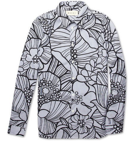 Marni Striped Flower-Print Cotton Shirt