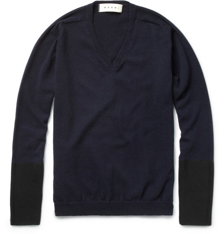 Marni Contrast-Panel Cashmere-Blend Sweater