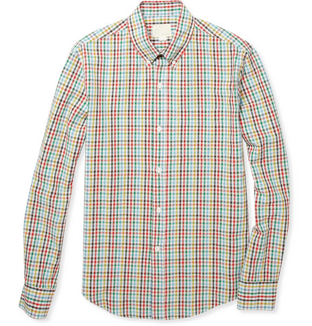 Band of Outsiders Checked Slim-Fit Cotton-Seersucker Shirt