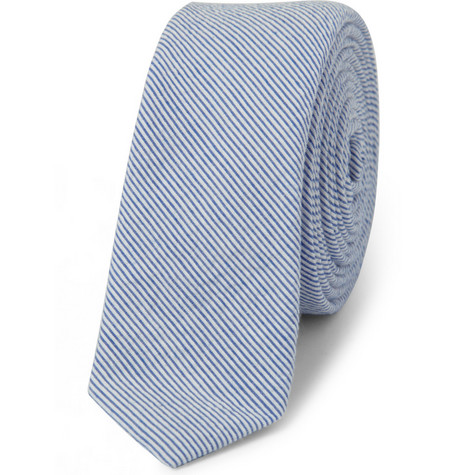 Band of Outsiders Slim Striped Cotton-Seersucker Tie