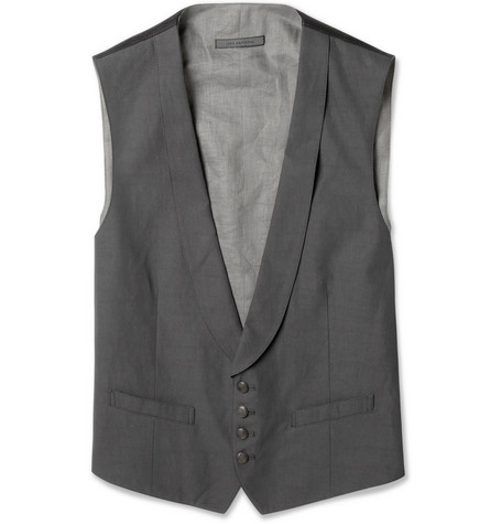 John Varvatos Two-Tone Cotton-Blend Waistcoat