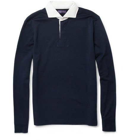 Ralph Lauren Purple Label Contrast-Collar Cotton Rugby Shirt
