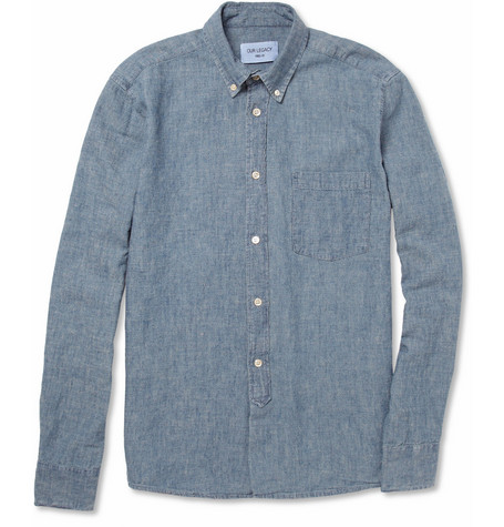Our Legacy Button-Down Collar Hemp-Blend Chambray Shirt