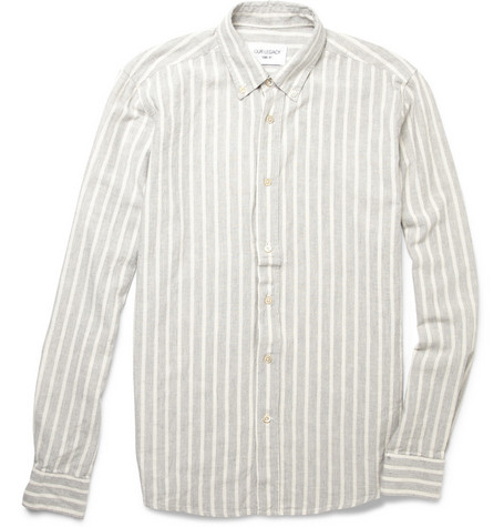Our Legacy Button-Down Striped Linen and Cotton Shirt