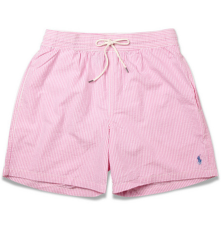 Polo Ralph Lauren Striped Cotton-Blend Seersucker Swim Shorts