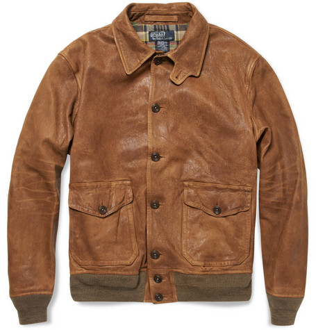 Polo Ralph Lauren Distressed Leather Bomber Jacket
