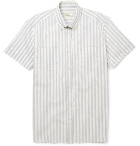 Maison Kitsuné Striped Short-Sleeved Cotton Shirt