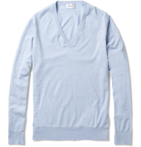 Brioni Marl Wool V-Neck Sweater
