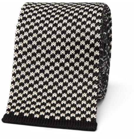 Paul Smith Shoes & Accessories Slim Checked Knitted Silk and Cotton-Blend Tie