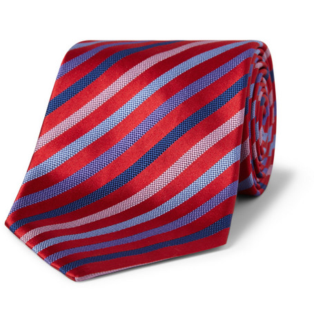 Paul Smith Shoes & Accessories Striped Silk and Cotton-Blend Tie