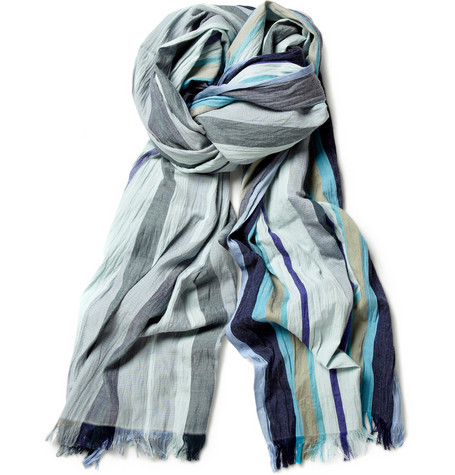 Paul Smith Shoes & Accessories Striped Silk and Cotton-Blend Scarf