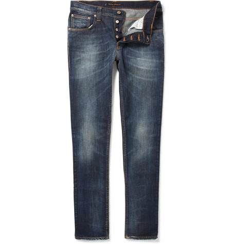 Nudie Jeans Grim Tim Slim-Fit Distressed Jeans