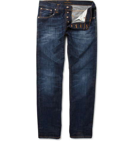 Nudie Jeans Average Joe Straight-Leg Washed Jeans