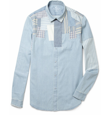Red Ear Patchwork Washed-Denim Shirt