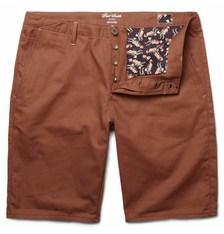 Red Ear Cotton-Twill Shorts
