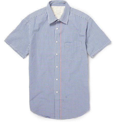 Rag & bone Short-Sleeved Gingham Check Cotton Shirt