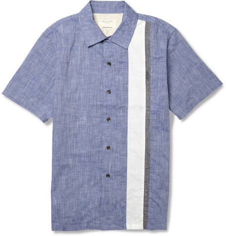 Rag & bone Washed Striped Chambray Shirt