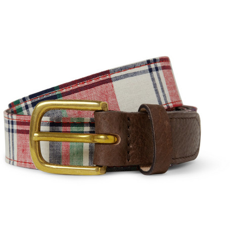 Rag & bone Leather and Plaid Fabric Belt