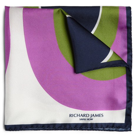 Richard James Graphic Print Silk Pocket Square