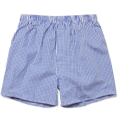 Sunspel Gingham Cotton Boxer Shorts