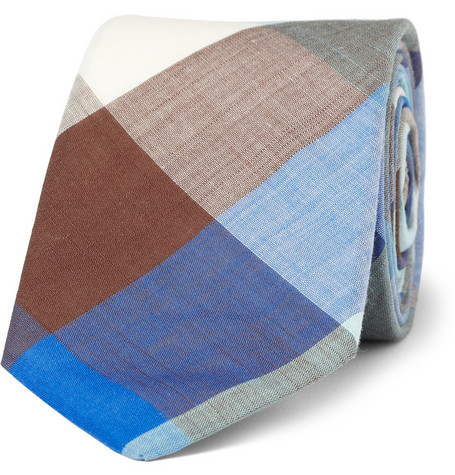 Alexander Olch Slim Checked Cotton Tie