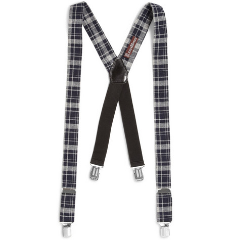 Alexander Olch Elasticated Cotton-Plaid Braces