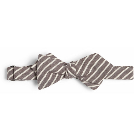 Alexander Olch Striped Cotton-Chambray Bow Tie