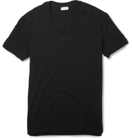 Dolce & Gabbana V-Neck Cotton-Blend T-Shirt