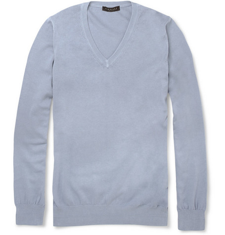 Canali V-Neck Knitted Cotton Sweater