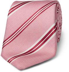 Canali Classic Striped Woven-Silk Tie