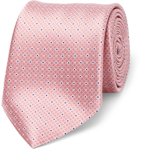 Canali Diamond-Patterned Woven-Silk Tie