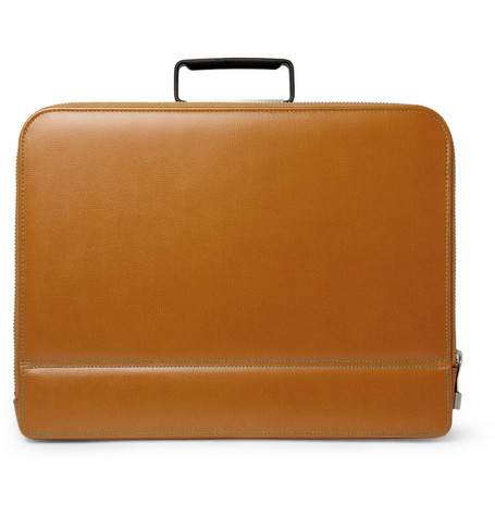 Valextra Premier Cross-Grain Leather Briefcase