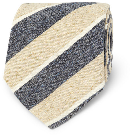 E. Tautz Caius Striped Slub Silk Tie