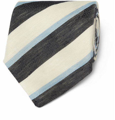 E. Tautz Striped Linen and Silk-Blend Tie