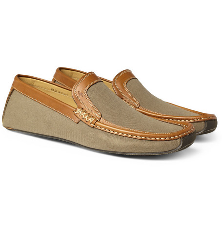 Harrys of London Jet Cotton Canvas Moccasin Lounge Shoes
